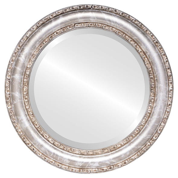 Beveled Mirror - Dorset Round Frame - Champagne Silver