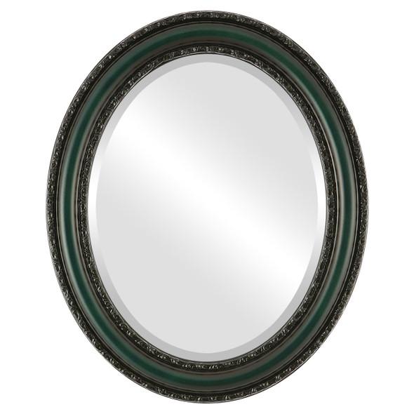Beveled Mirror - Dorset Oval Frame - Hunter Green