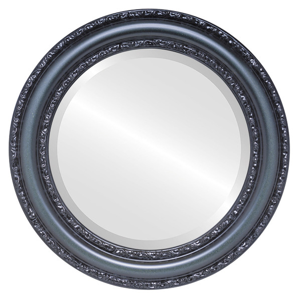 Beveled Mirror - Dorset Round Frame - Hunter Green