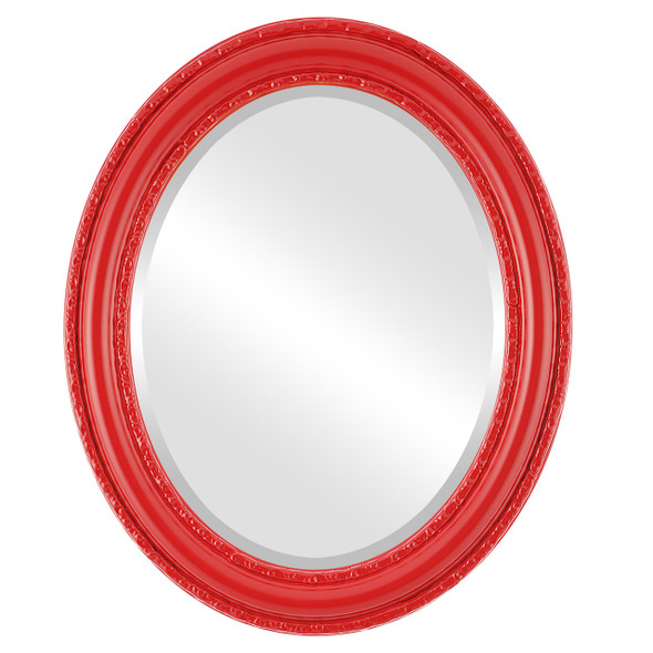 Beveled Mirror - Dorset Oval Frame - Holiday Red