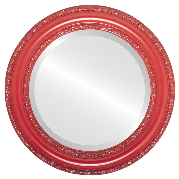 Beveled Mirror - Dorset Round Frame - Holiday Red