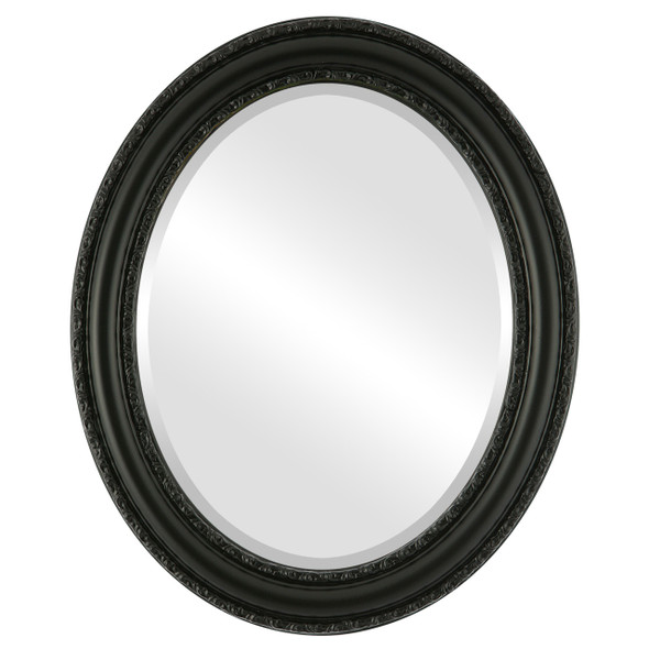 Beveled Mirror - Dorset Oval Frame - Matte Black