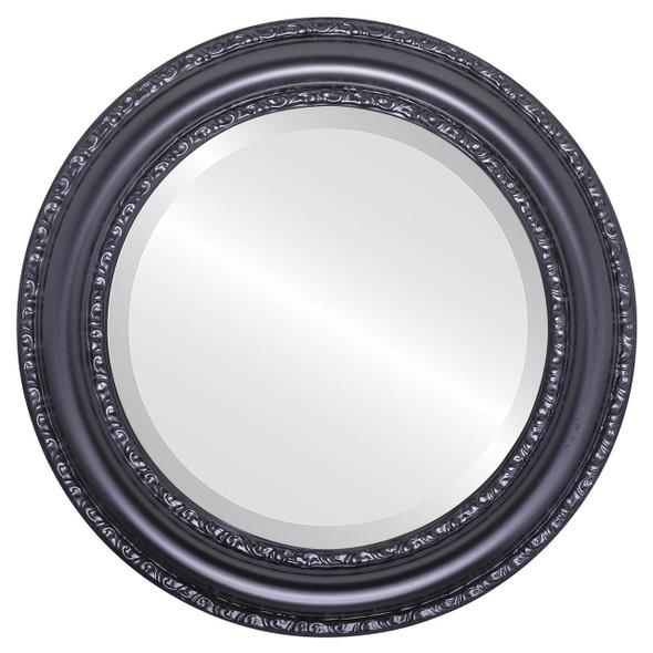 Beveled Mirror - Dorset Round Frame - Matte Black