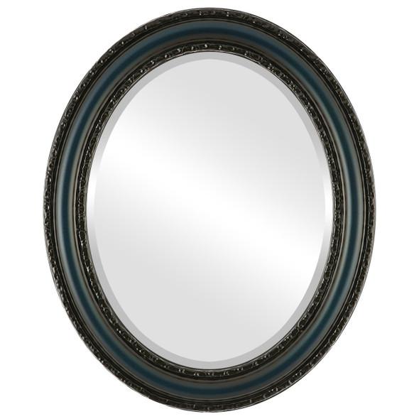 Beveled Mirror - Dorset Oval Frame - Royal Blue