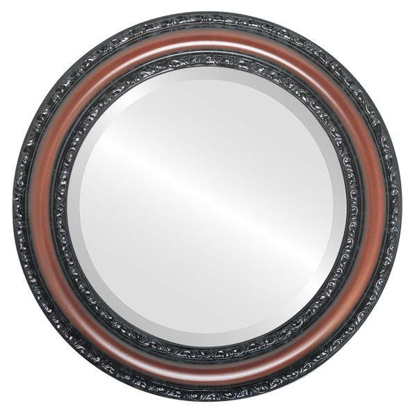 Beveled Mirror - Dorset Round Frame - Rosewood