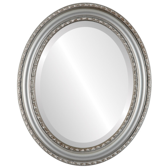 Beveled Mirror - Dorset Oval Frame - Silver Shade