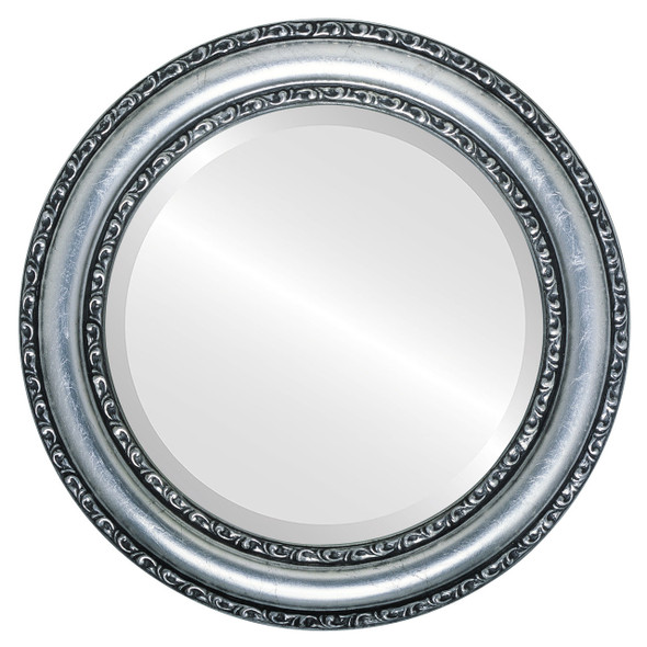 Beveled Mirror - Dorset Round Frame - Silver Leaf with Black Antique
