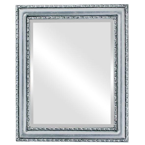 Beveled Mirror - Dorset Rectangle Frame - Silver Leaf with Black Antique