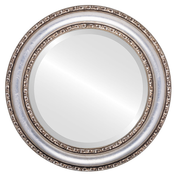 Beveled Mirror - Dorset Round Frame - Silver Leaf with Brown Antique
