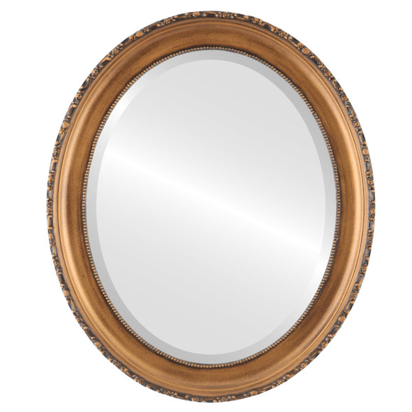 Beveled Mirror - Kensington Oval Frame - Sunset Gold