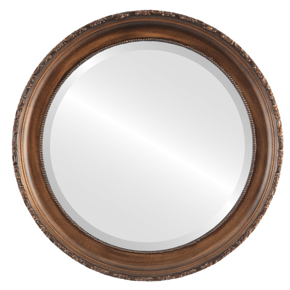 Beveled Mirror - Kensington Round Frame - Sunset Gold