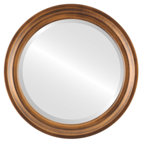 Beveled Mirror - Newport Round Frame - Sunset Gold
