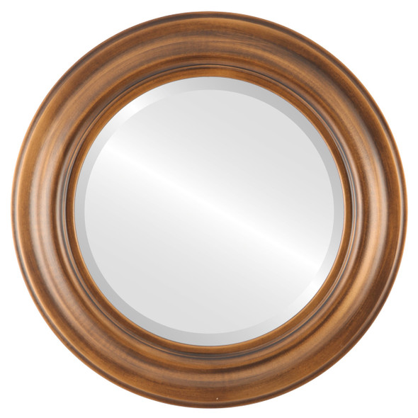 Beveled Mirror - Lancaster Round Frame - Sunset Gold