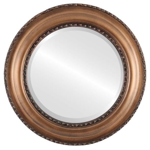 Beveled Mirror - Somerset Round Frame - Sunset Gold