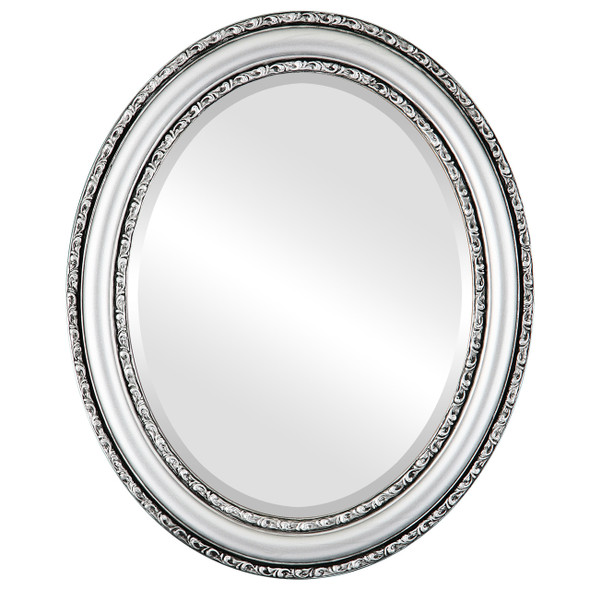 Beveled Mirror - Dorset Oval Frame - Silver Spray
