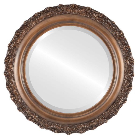Beveled Mirror - Venice Round Frame - Sunset Gold