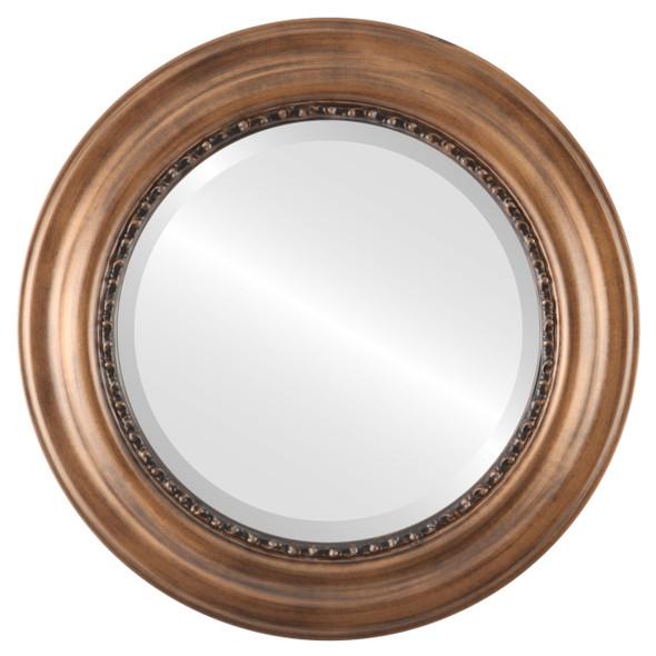 Beveled Mirror - Chicago Round Frame - Sunset Gold