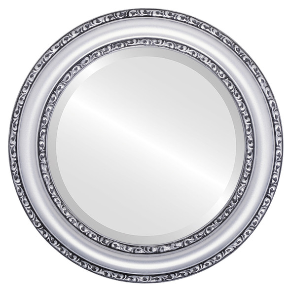 Beveled Mirror - Dorset Round Frame - Silver Spray