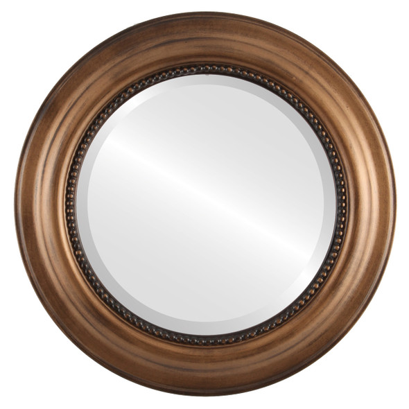 Beveled Mirror - Heritage Round Frame - Sunset Gold