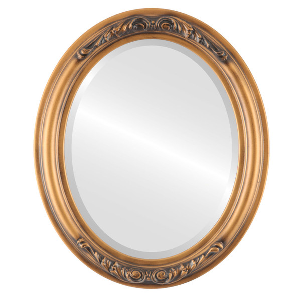 Beveled Mirror - Florence Oval Frame - Sunset Gold