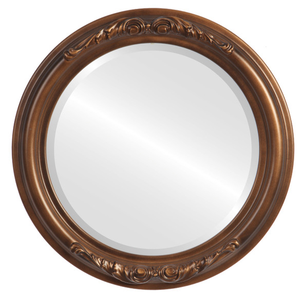 Beveled Mirror - Florence Round Frame - Sunset Gold
