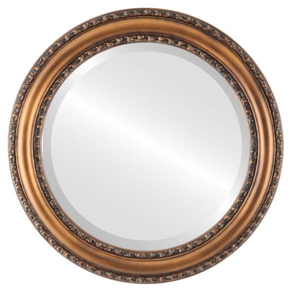 Beveled Mirror - Dorset Round Frame - Sunset Gold