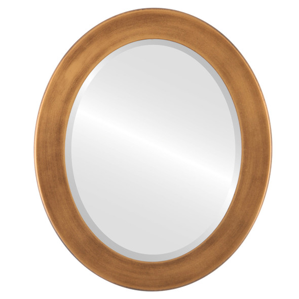 Beveled Mirror - Cafe Oval Frame - Sunset Gold