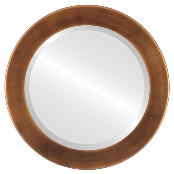 Beveled Mirror - Cafe Round Frame - Sunset Gold
