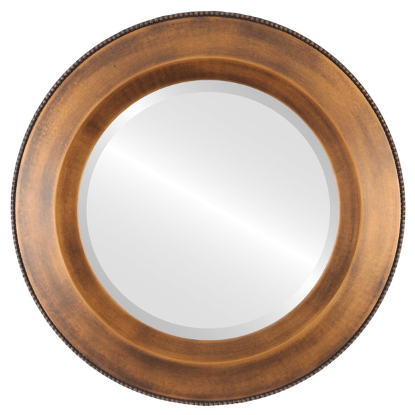 Beveled Mirror - Lombardia Round Frame - Sunset Gold