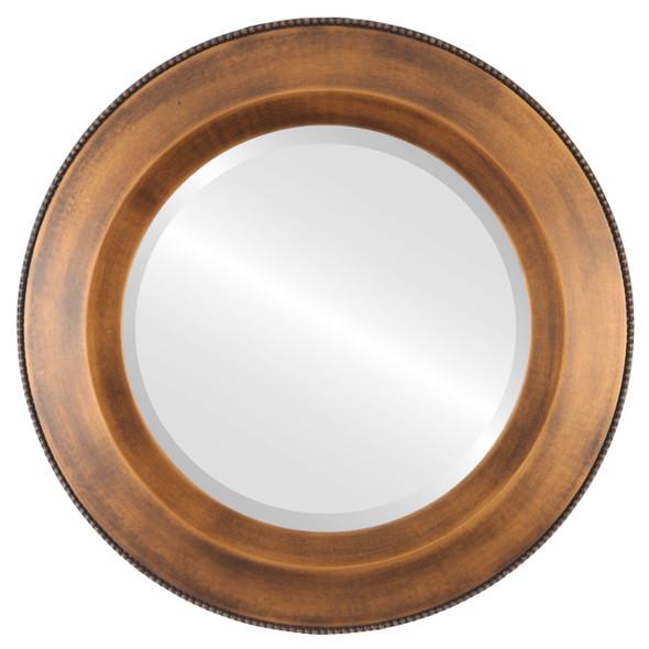 Beveled Mirror - Lombardia Round Frame - Sunset Gold