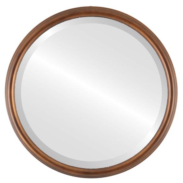Beveled Mirror - Hamilton Round Frame - Sunset Gold with Silver Lip