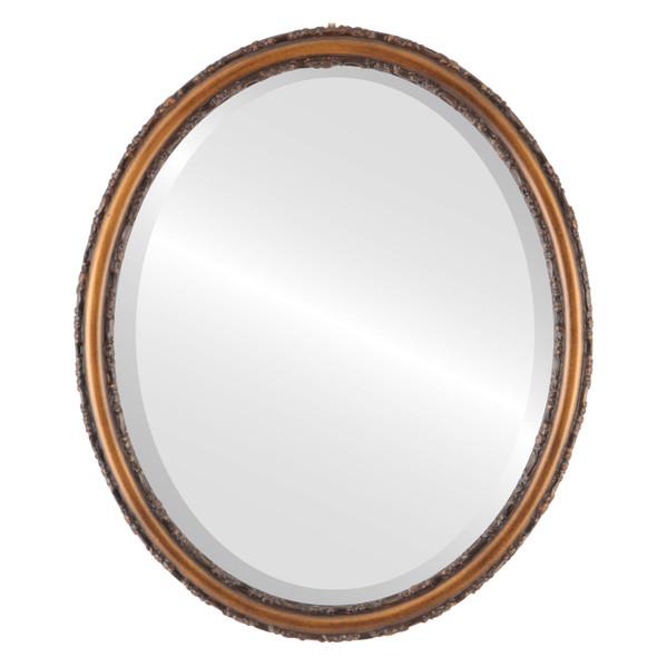 Beveled Mirror - Virginia Oval Frame - Sunset Gold