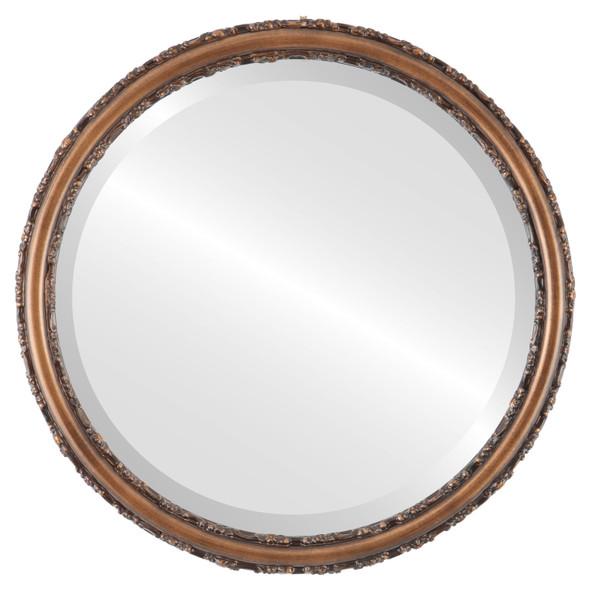 Beveled Mirror Mirror - Virginia Circle Frame - Sunset Gold