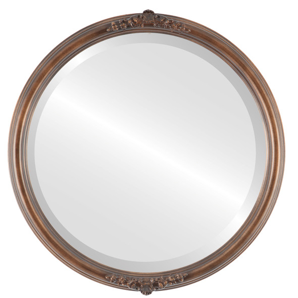 Beveled Mirror - Contessa Round Frame - Sunset Gold