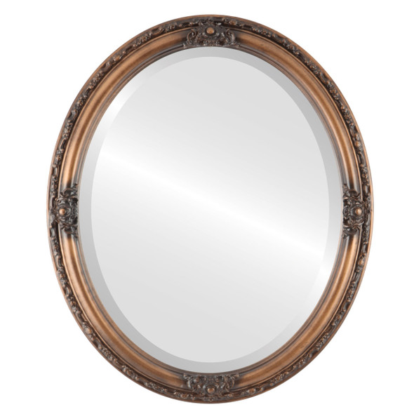 Beveled Mirror - Jefferson Oval Frame - Sunset Gold