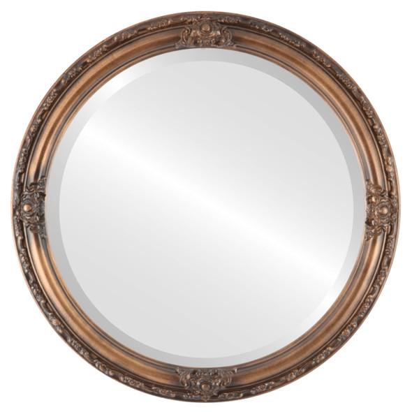 Beveled Mirror - Jefferson Round Frame - Sunset Gold