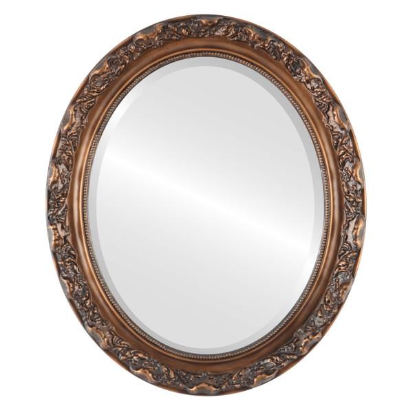 Beveled Mirror - Rome Oval Frame - Sunset Gold