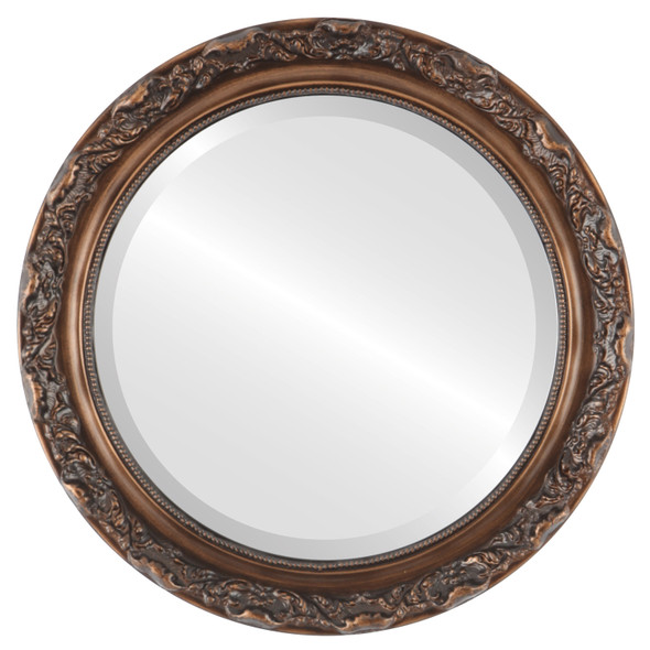 Beveled Mirror - Rome Round Frame - Sunset Gold