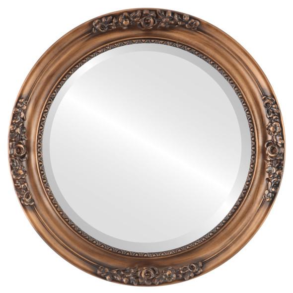 Beveled Mirror - Versailles Round Frame - Sunset Gold