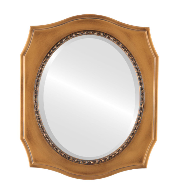 Beveled Mirror - San Francisco Oval Frame - Sunset Gold