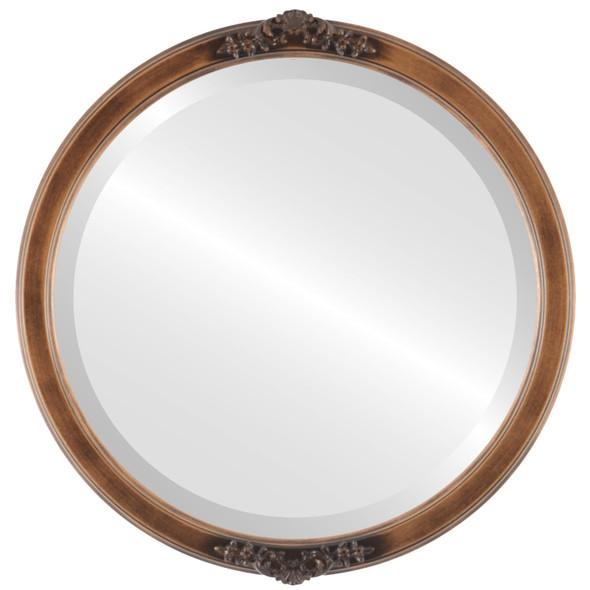 Beveled Mirror - Athena Round Frame - Sunset Gold