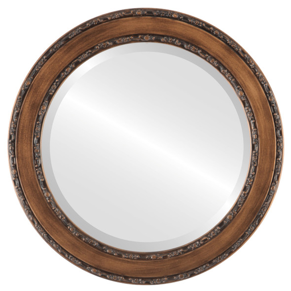Beveled Mirror - Monticello Round Frame - Sunset Gold