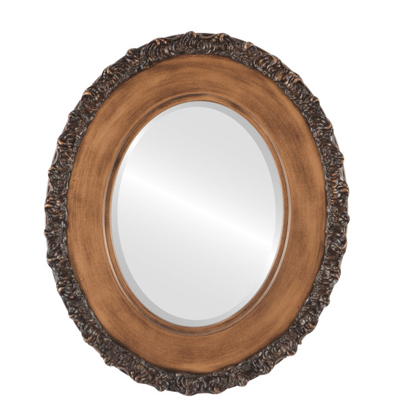 Beveled Mirror - Williamsburg Oval Frame - Sunset Gold