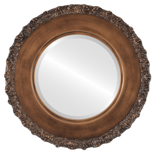 Beveled Mirror - Williamsburg Round Frame - Sunset Gold