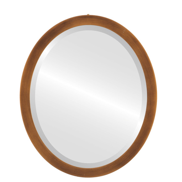 Beveled Mirror - Manhattan Oval Frame - Sunset Gold