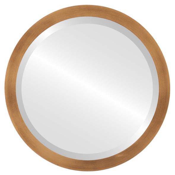 Beveled Mirror - Manhattan Round Frame - Sunset Gold
