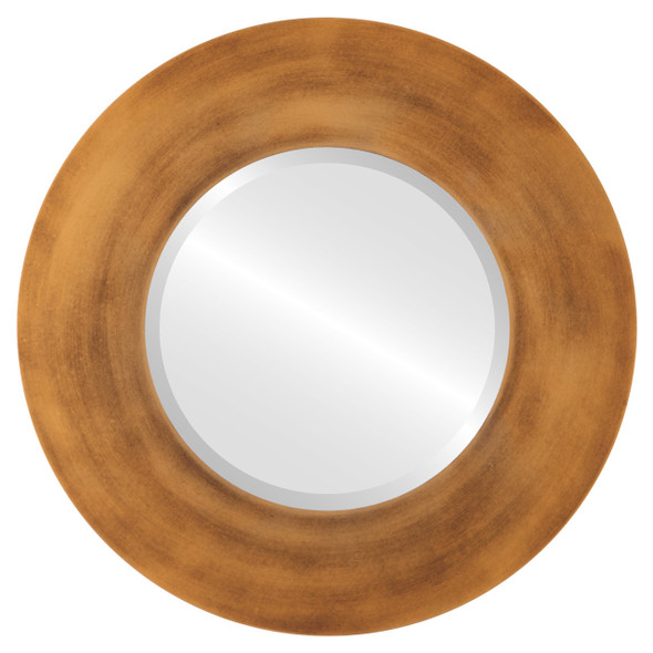 Beveled Mirror - Tribeca Round Frame - Sunset Gold