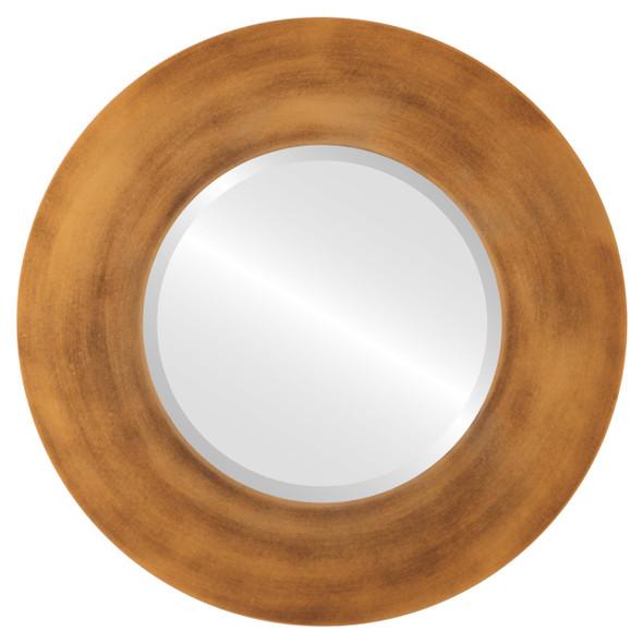 Beveled Mirror - Tribeca Round Frame - Sunset Gold