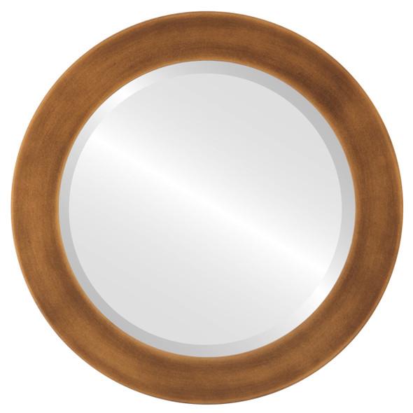 Beveled Mirror - Avenue Round Frame - Sunset Gold