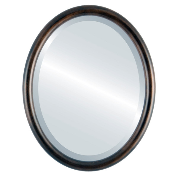 Pasadena Framed Oval Mirror - Rubbed Bronze